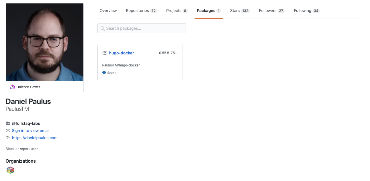 Packages on your profile